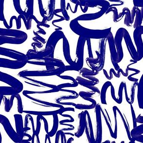 Cream on dark blue paint waves modern abstract