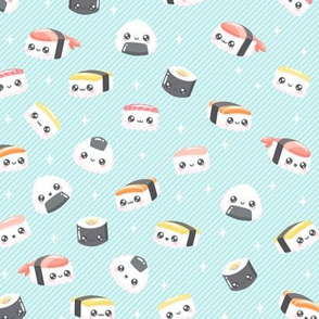 Happy Little Sushi Pattern on Blue