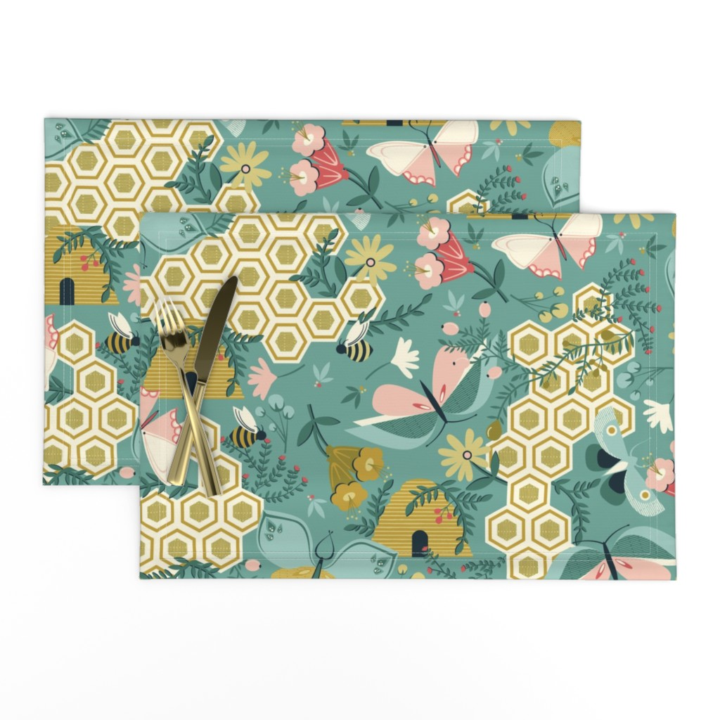 Lamona Cloth Placemats featuring Flutter Buddies by oliveandruby