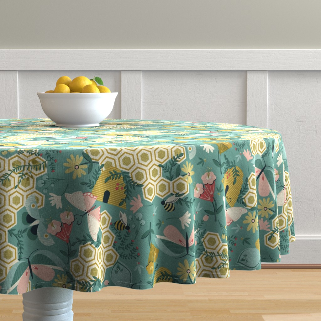 Malay Round Tablecloth featuring Flutter Buddies by oliveandruby