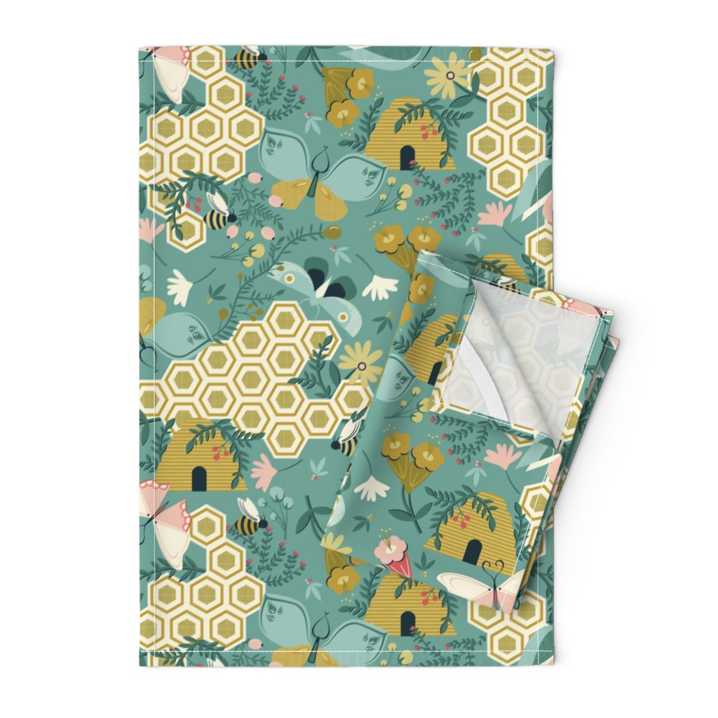 Orpington Tea Towels featuring Flutter Buddies by oliveandruby