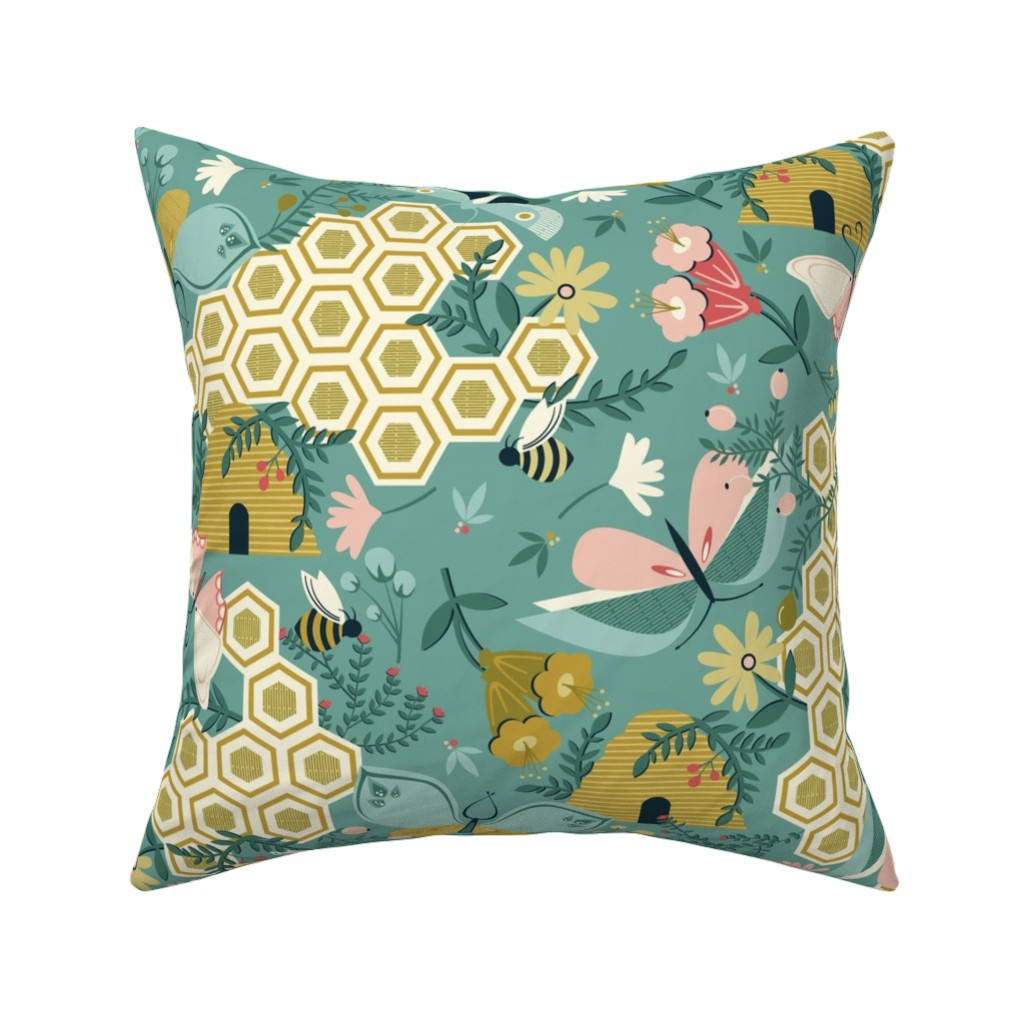 Catalan Throw Pillow featuring Flutter Buddies by oliveandruby
