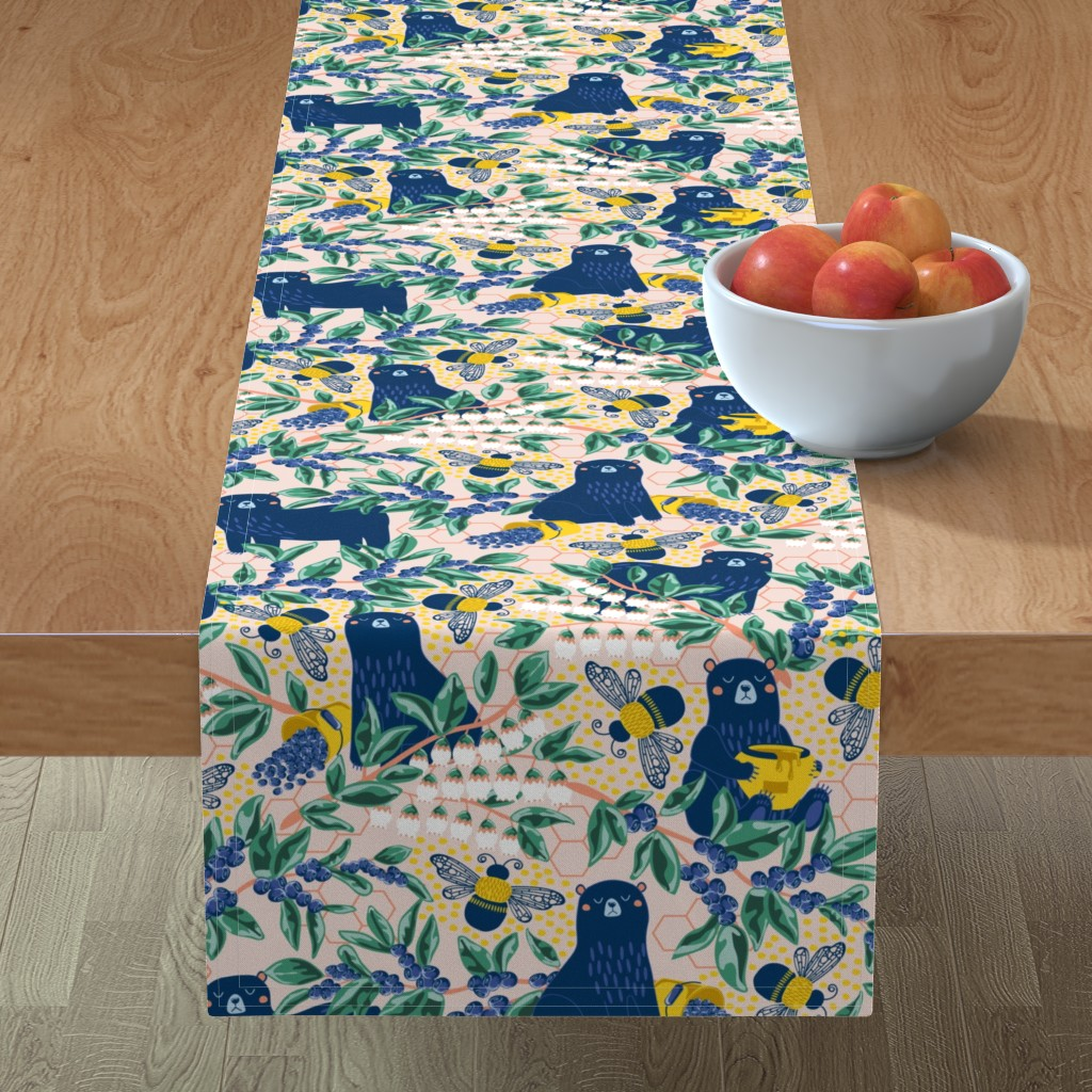 Minorca Table Runner featuring Blue-bear-y Bees by nanshizzle
