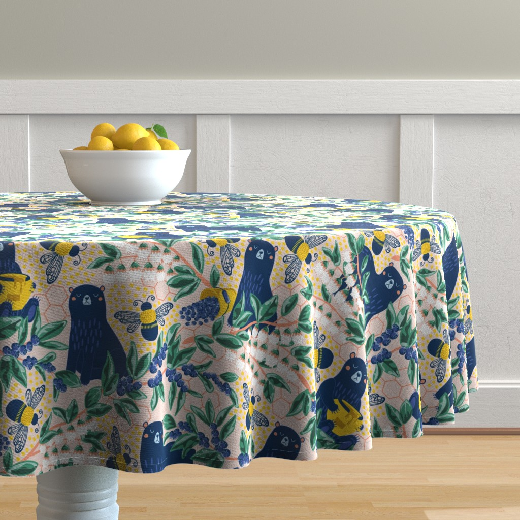 Malay Round Tablecloth featuring Blue-bear-y Bees by nanshizzle