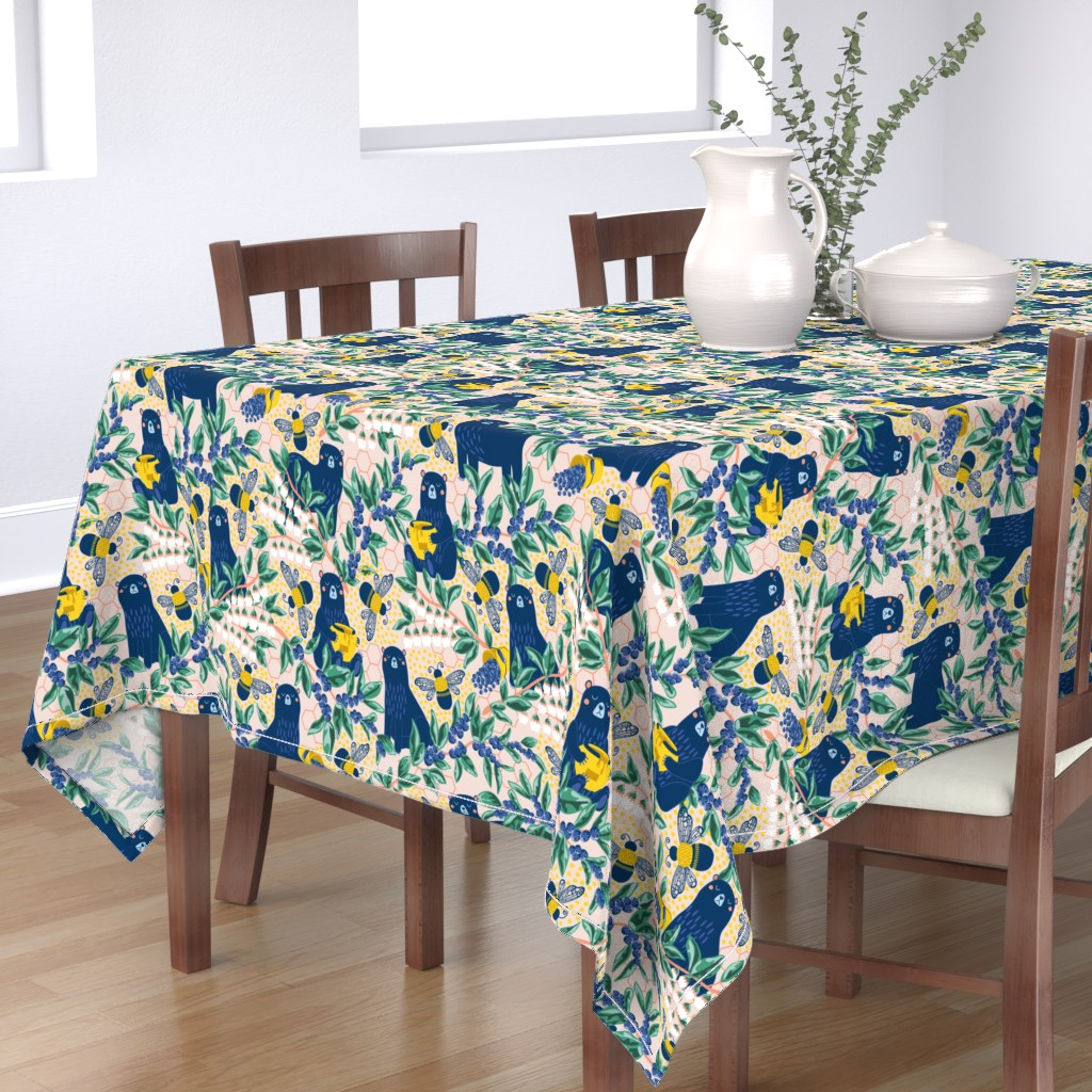 Bantam Rectangular Tablecloth featuring Blue-bear-y Bees by nanshizzle