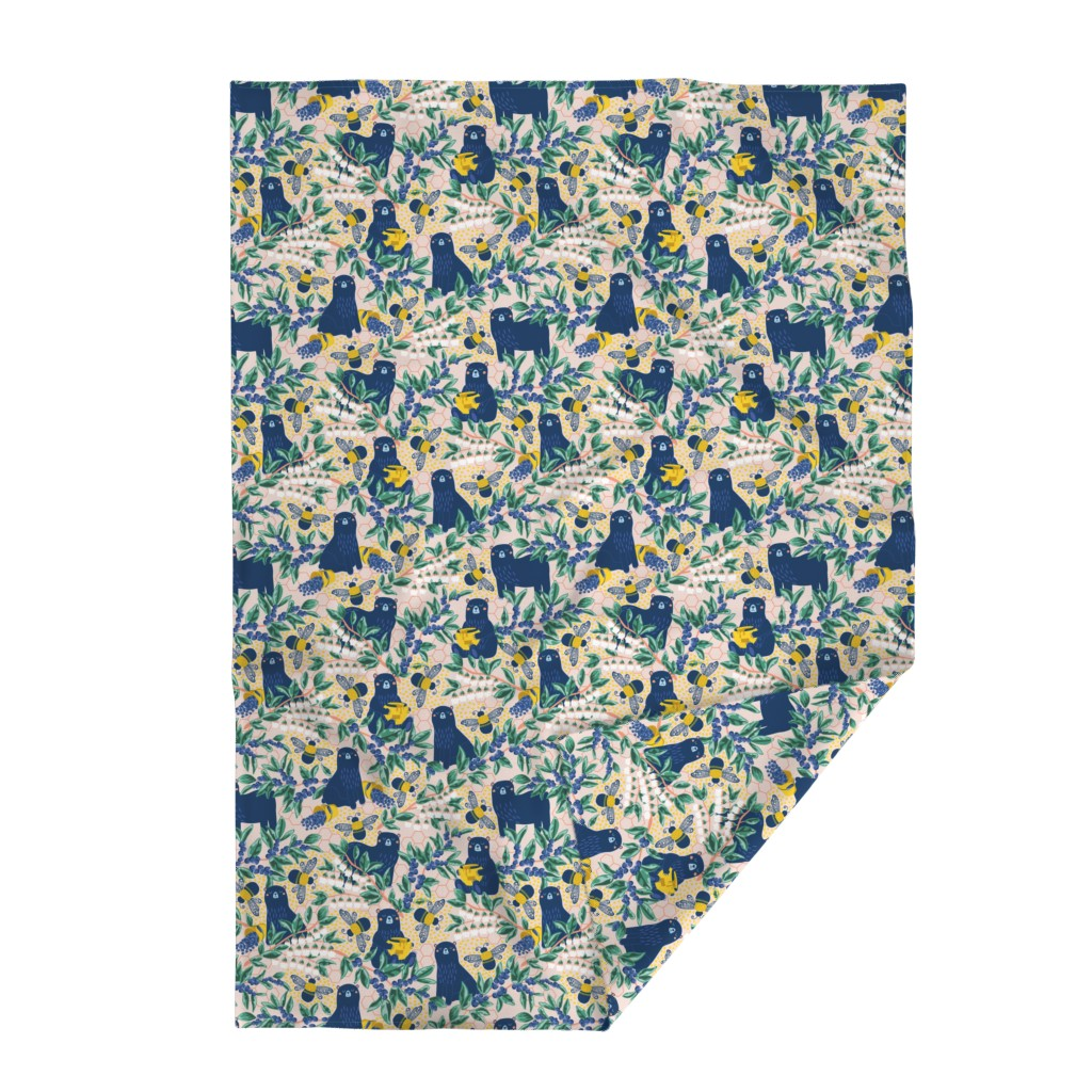Lakenvelder Throw Blanket featuring Blue-bear-y Bees by nanshizzle