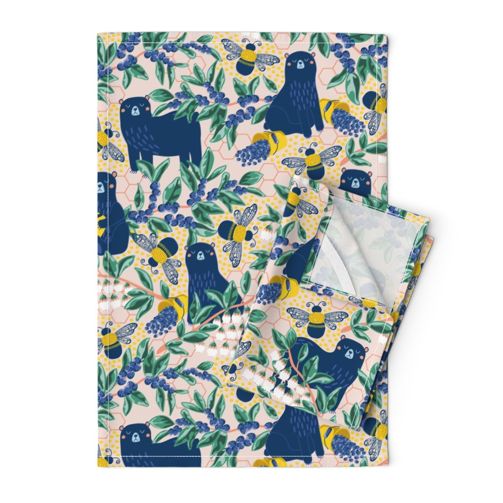 Orpington Tea Towels featuring Blue-bear-y Bees by nanshizzle