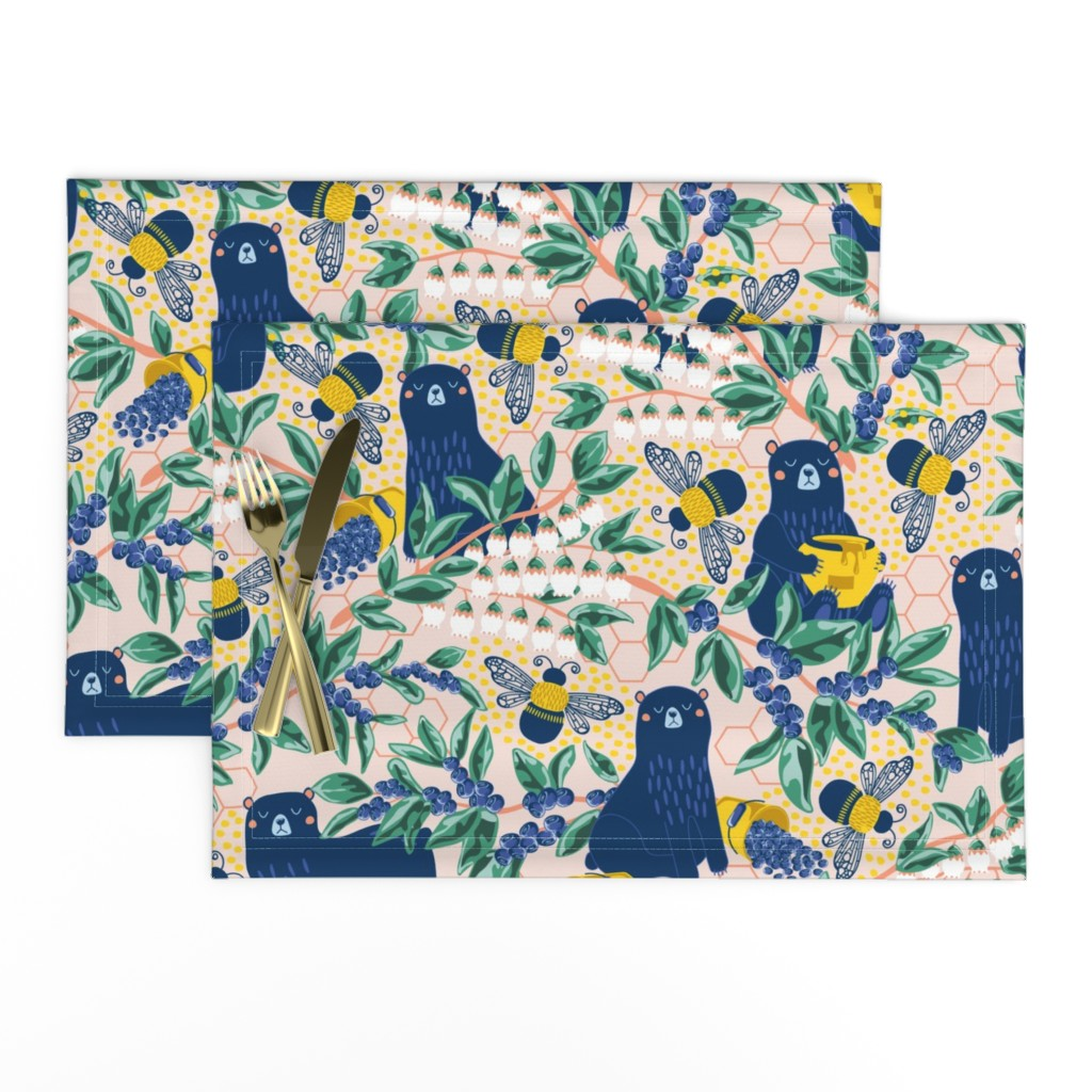 Lamona Cloth Placemats featuring Blue-bear-y Bees by nanshizzle