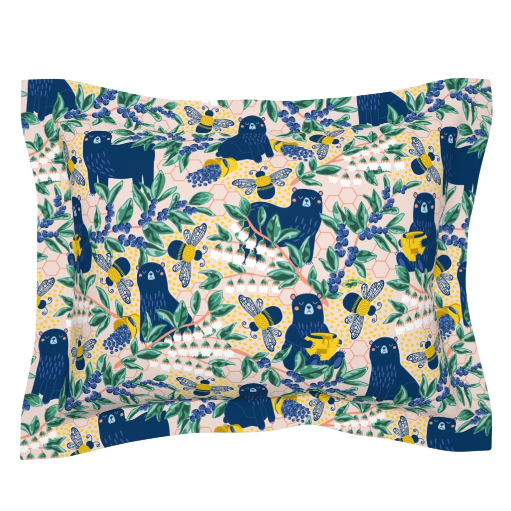 Sebright Pillow Sham featuring Blue-bear-y Bees by nanshizzle