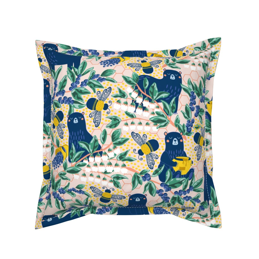 Serama Throw Pillow featuring Blue-bear-y Bees by nanshizzle