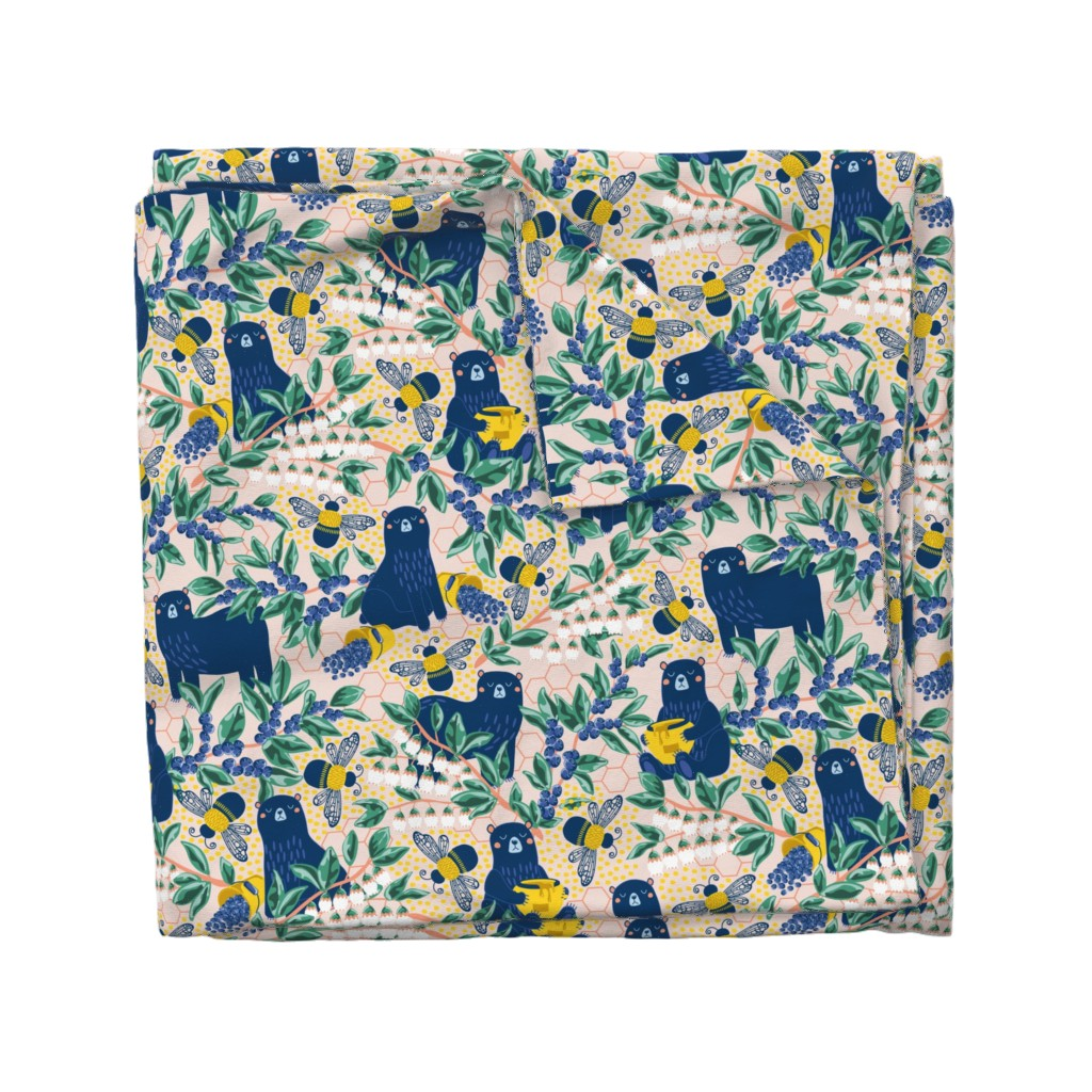 Wyandotte Duvet Cover featuring Blue-bear-y Bees by nanshizzle