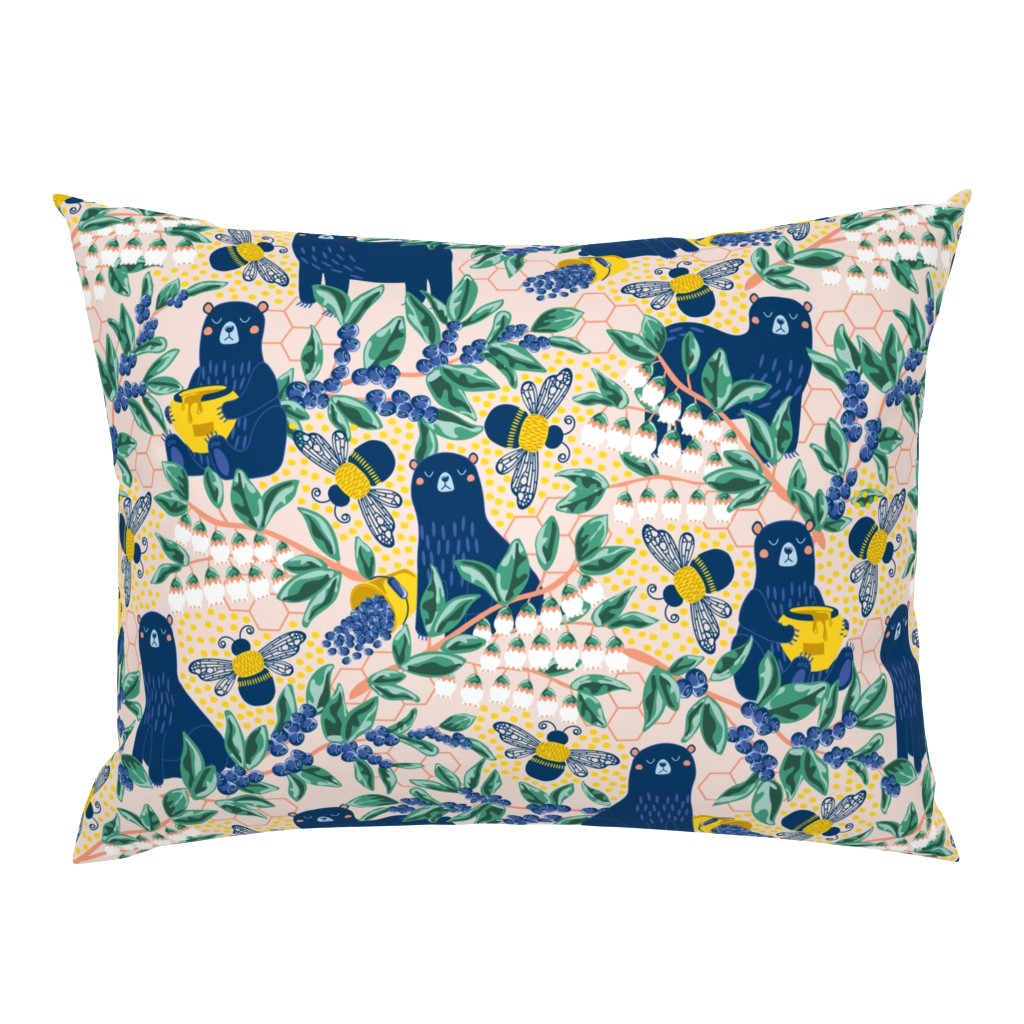 Campine Pillow Sham featuring Blue-bear-y Bees by nanshizzle