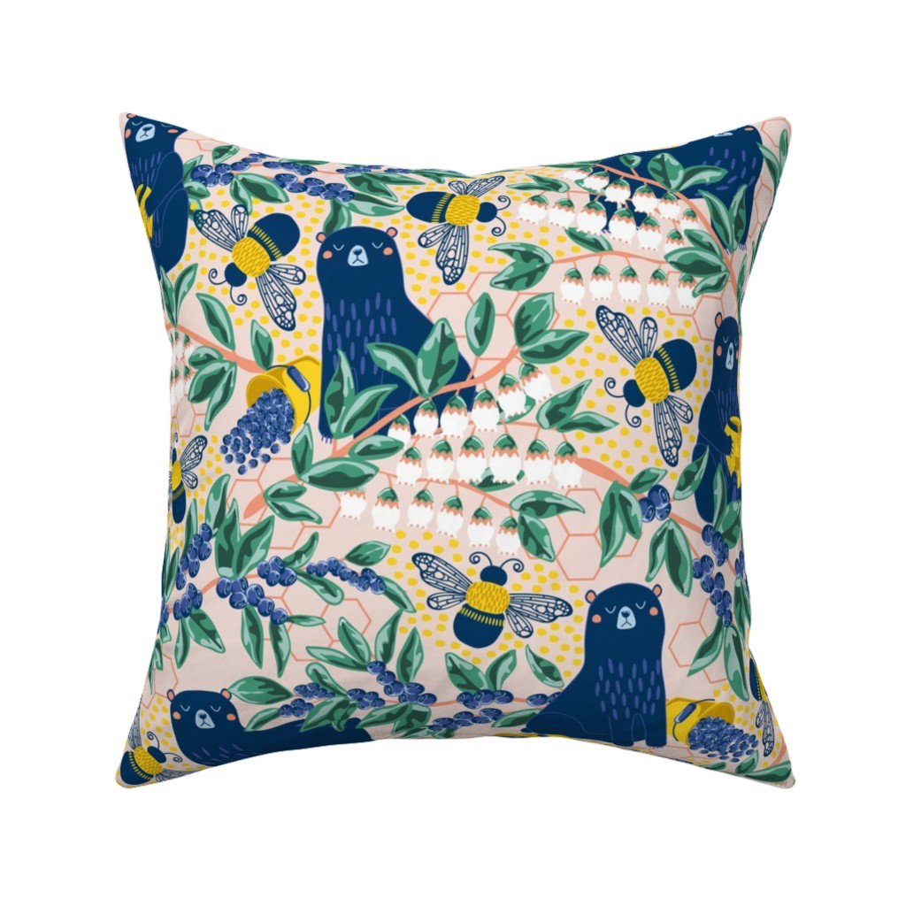 Catalan Throw Pillow featuring Blue-bear-y Bees by nanshizzle