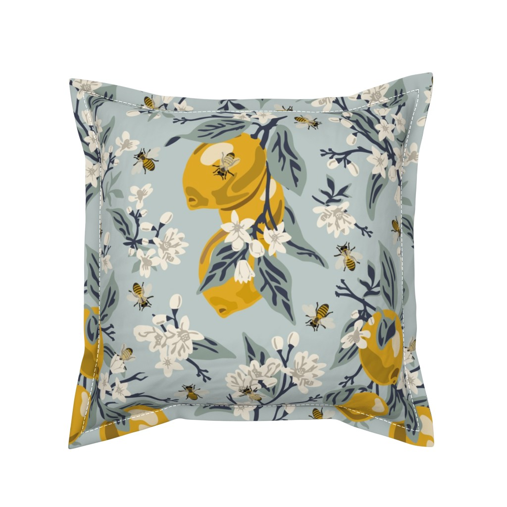 Serama Throw Pillow featuring Bees & Lemons - Large - Blue (original colors) by fernlesliestudio