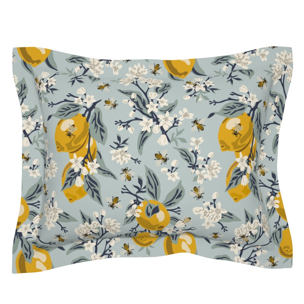 Sebright Pillow Sham featuring Bees And Lemons - Blue - Large by fernlesliestudio