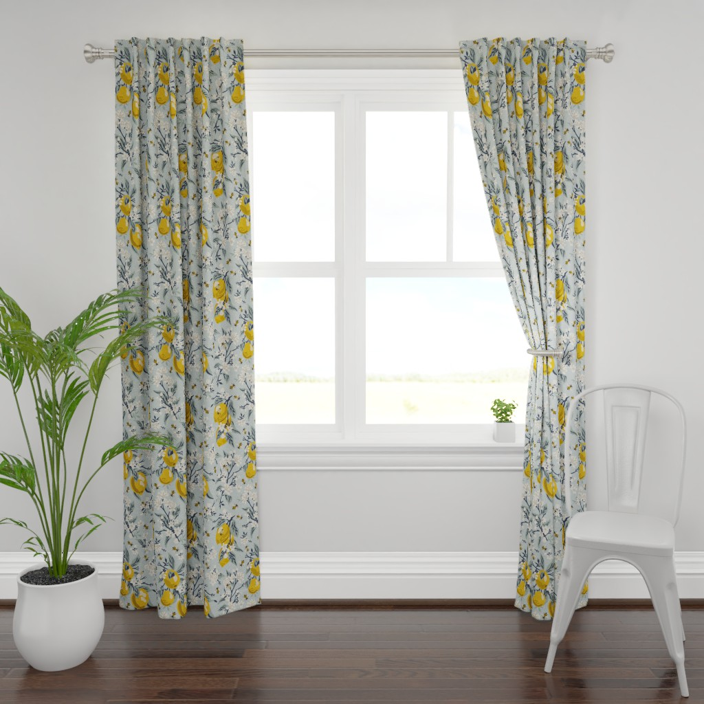 Plymouth Curtain Panel featuring Bees And Lemons - Blue - Large by fernlesliestudio
