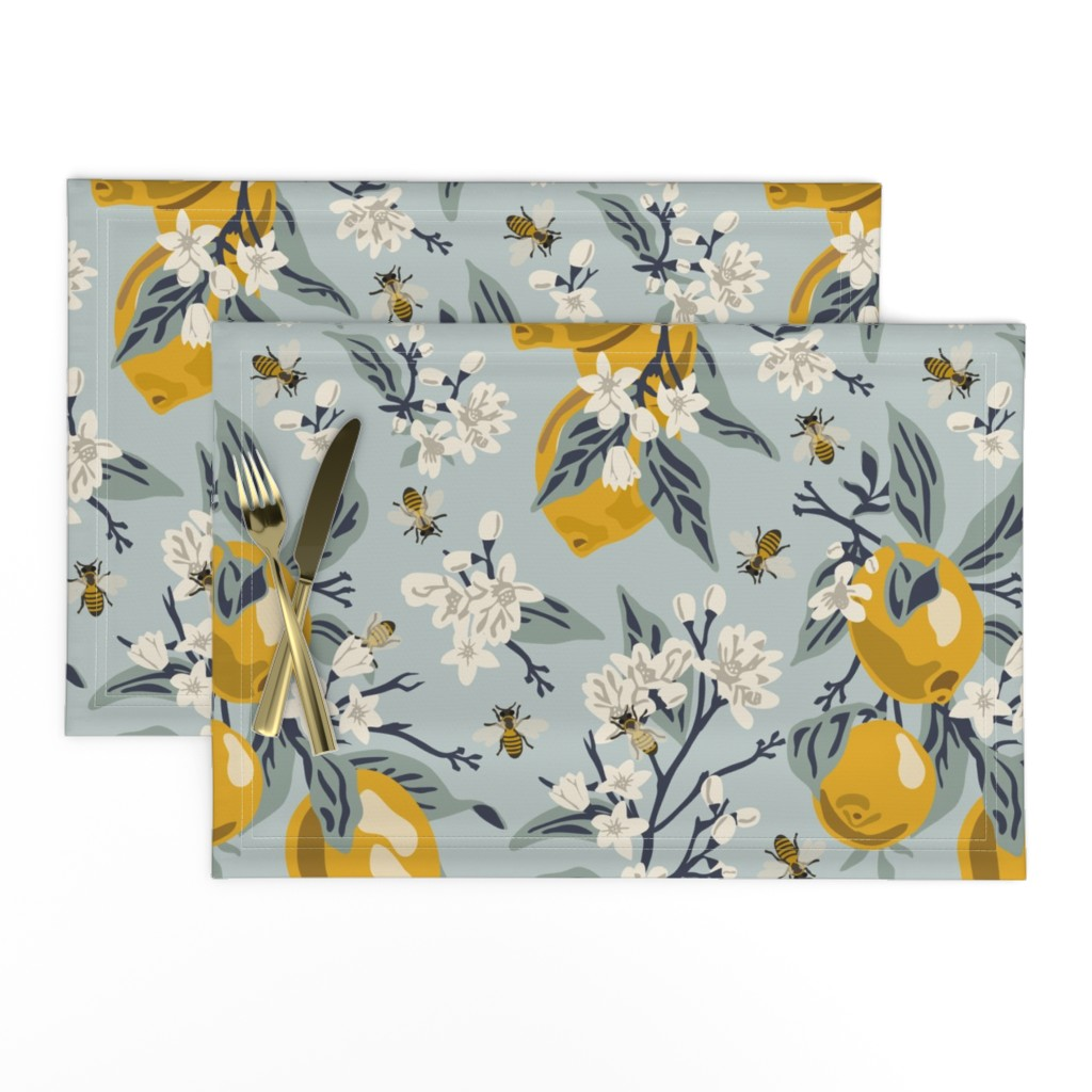 Lamona Cloth Placemats featuring Bees & Lemons - Large - Blue (original colors) by fernlesliestudio