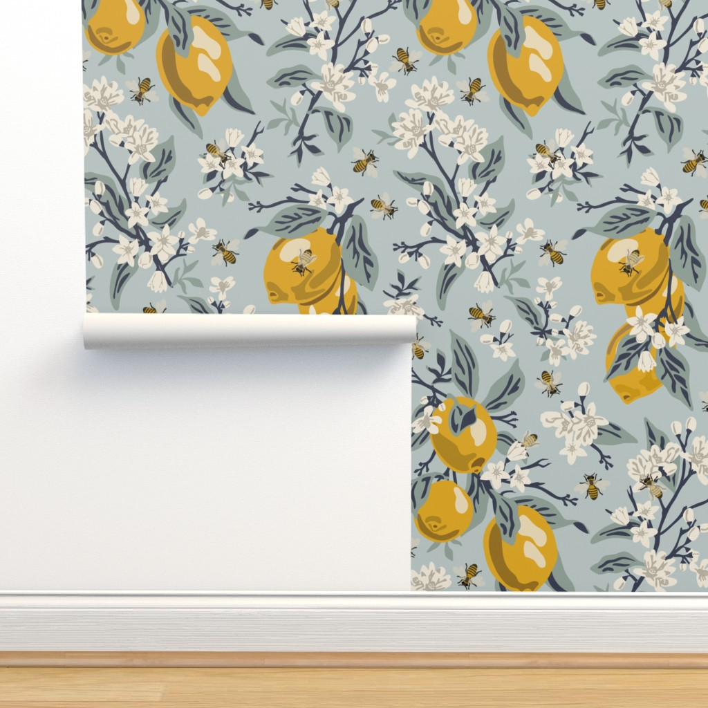 Isobar Durable Wallpaper featuring Bees And Lemons - Blue - Large by fernlesliestudio