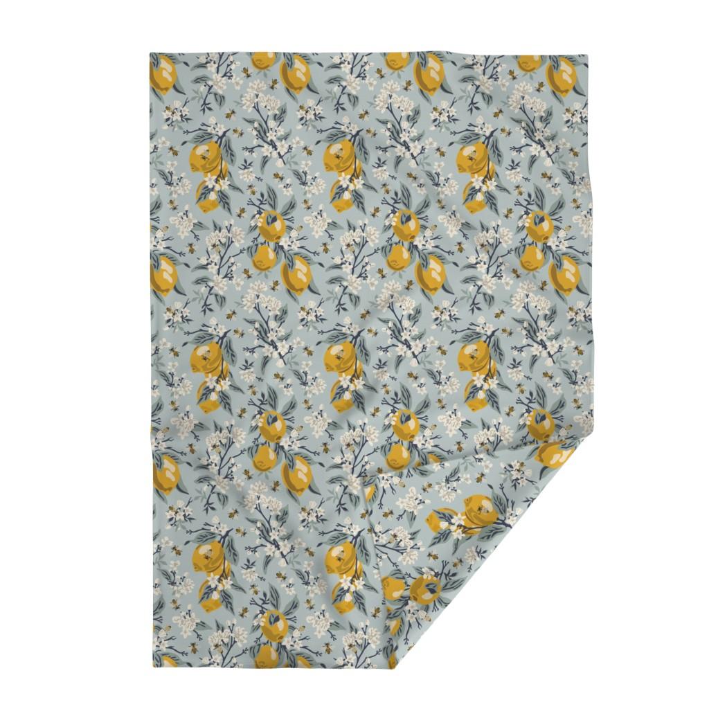 Lakenvelder Throw Blanket featuring Bees And Lemons - Blue - Large by fernlesliestudio