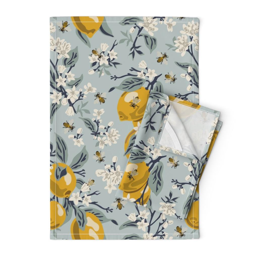 Orpington Tea Towels featuring Bees & Lemons - Large - Blue (original colors) by fernlesliestudio