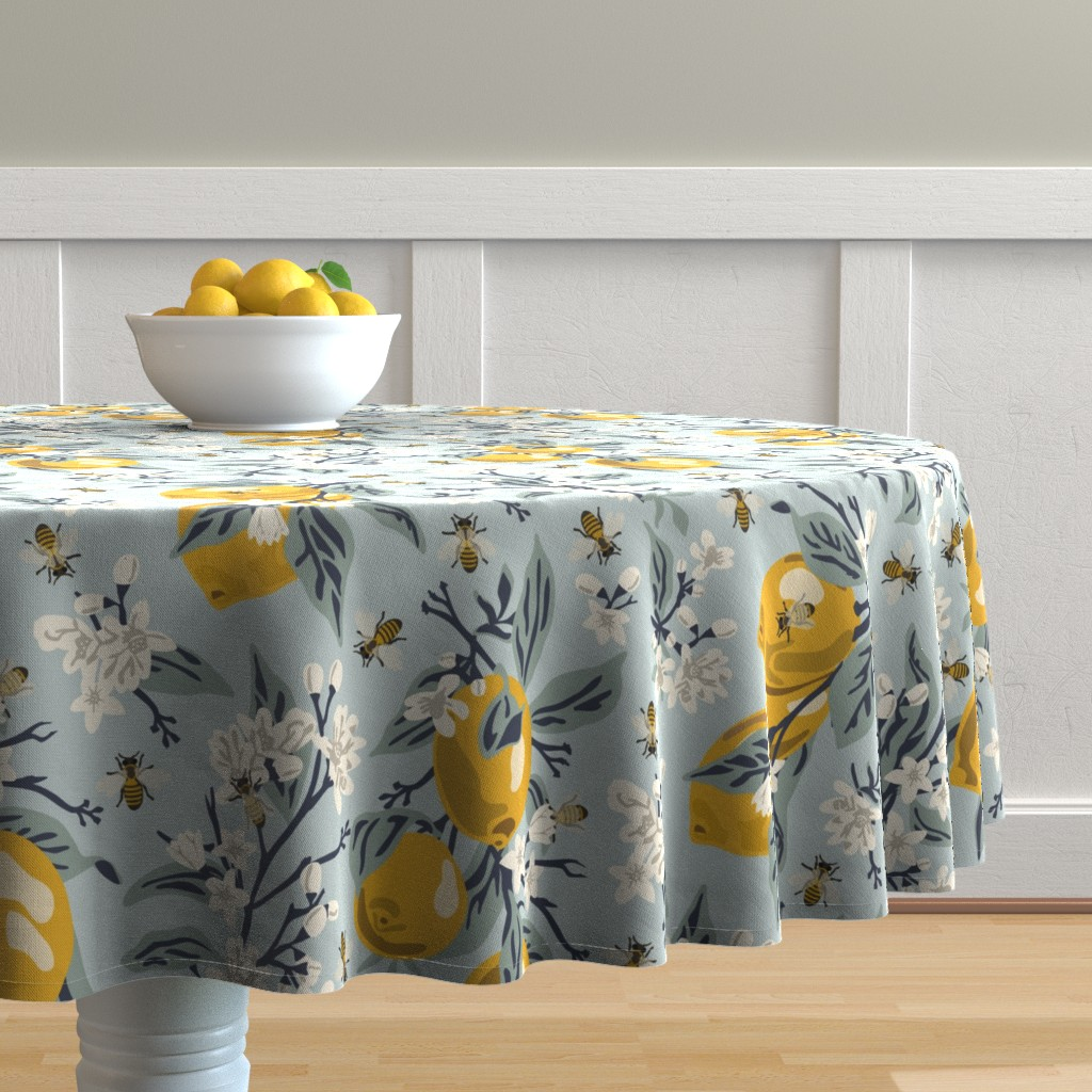 Malay Round Tablecloth featuring Bees & Lemons - Large - Blue (original colors) by fernlesliestudio