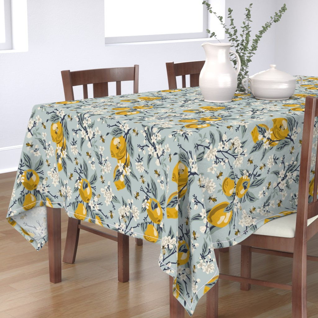 Bantam Rectangular Tablecloth featuring Bees & Lemons - Large - Blue (original colors) by fernlesliestudio