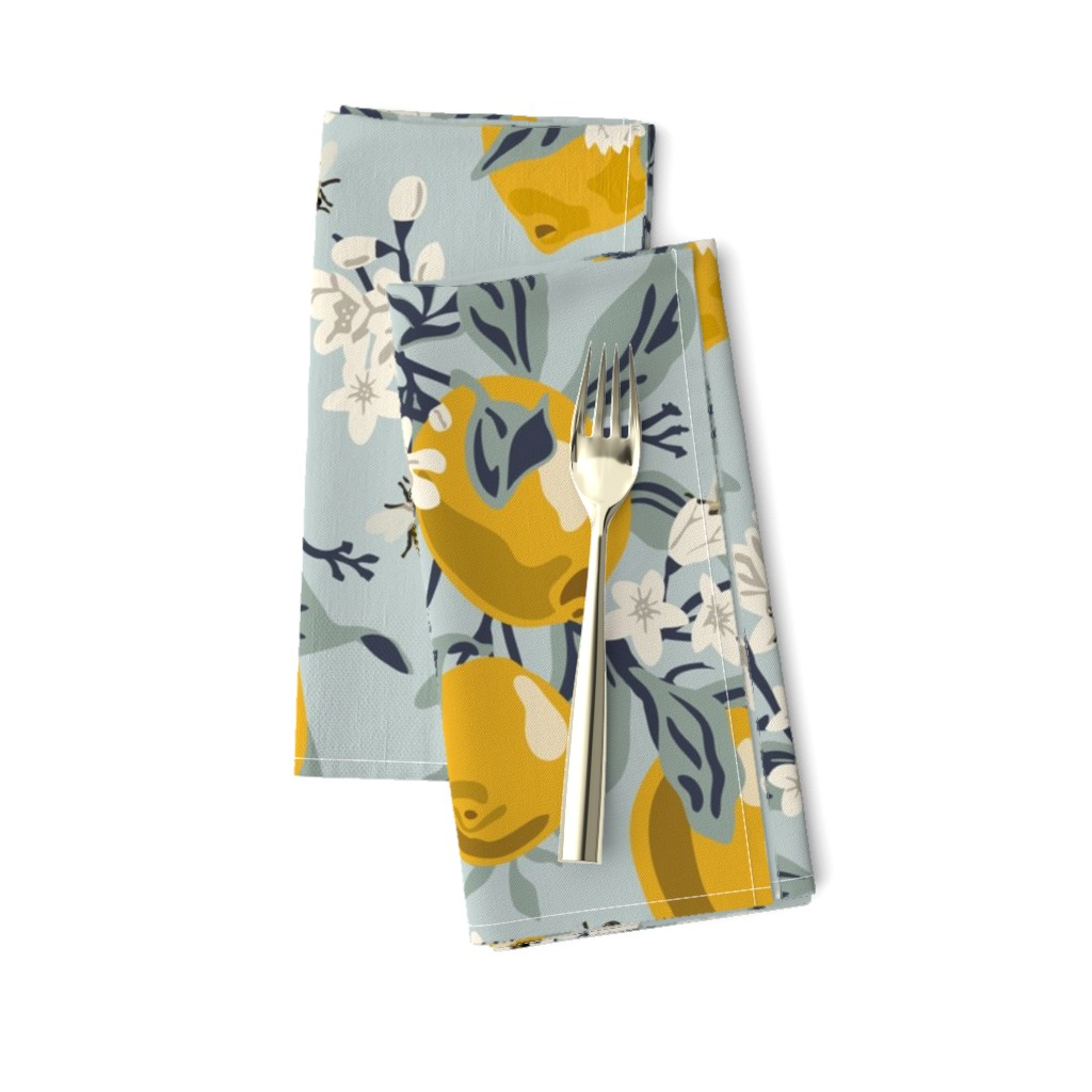 Amarela Dinner Napkins featuring Bees And Lemons - Blue - Large by fernlesliestudio