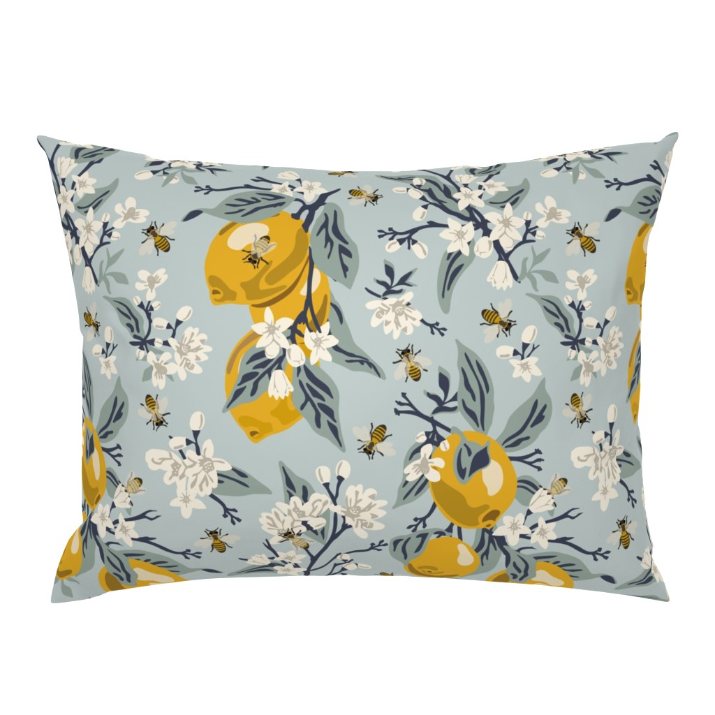 Campine Pillow Sham featuring Bees And Lemons - Blue - Large by fernlesliestudio
