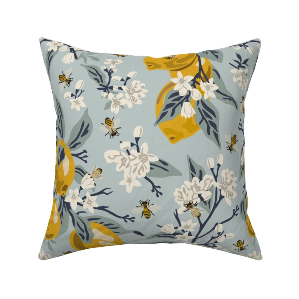 Catalan Throw Pillow featuring Bees And Lemons - Blue - Large by fernlesliestudio