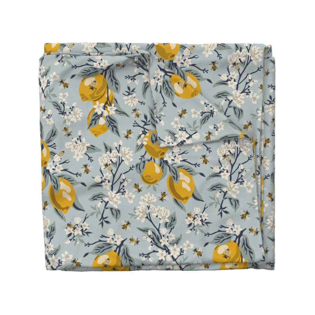 Wyandotte Duvet Cover featuring Bees And Lemons - Blue - Large by fernlesliestudio