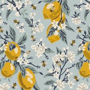 Bees & Lemons - Large - Blue