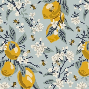 Bees & Lemons - Large - Blue (original colors)
