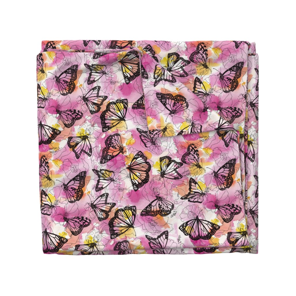 Wyandotte Duvet Cover featuring monarch migration by ghouk