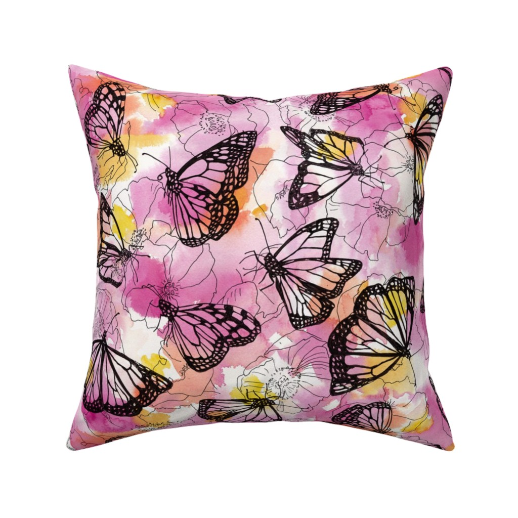 Catalan Throw Pillow featuring monarch migration by ghouk