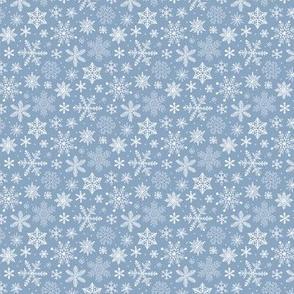 Snowflakes Christmas on Light Cyan Blue Tiny Small