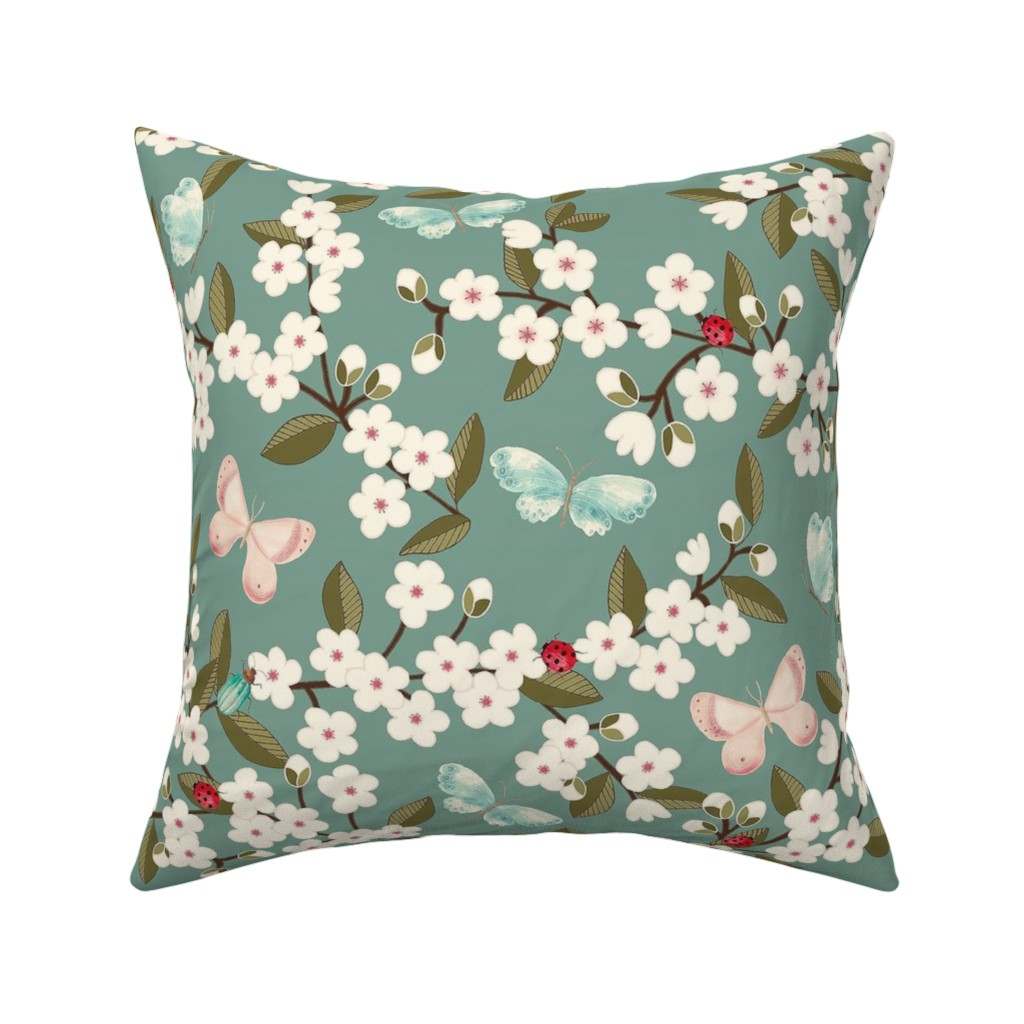 Catalan Throw Pillow featuring Cherry Blossom in Teal by celina_digby