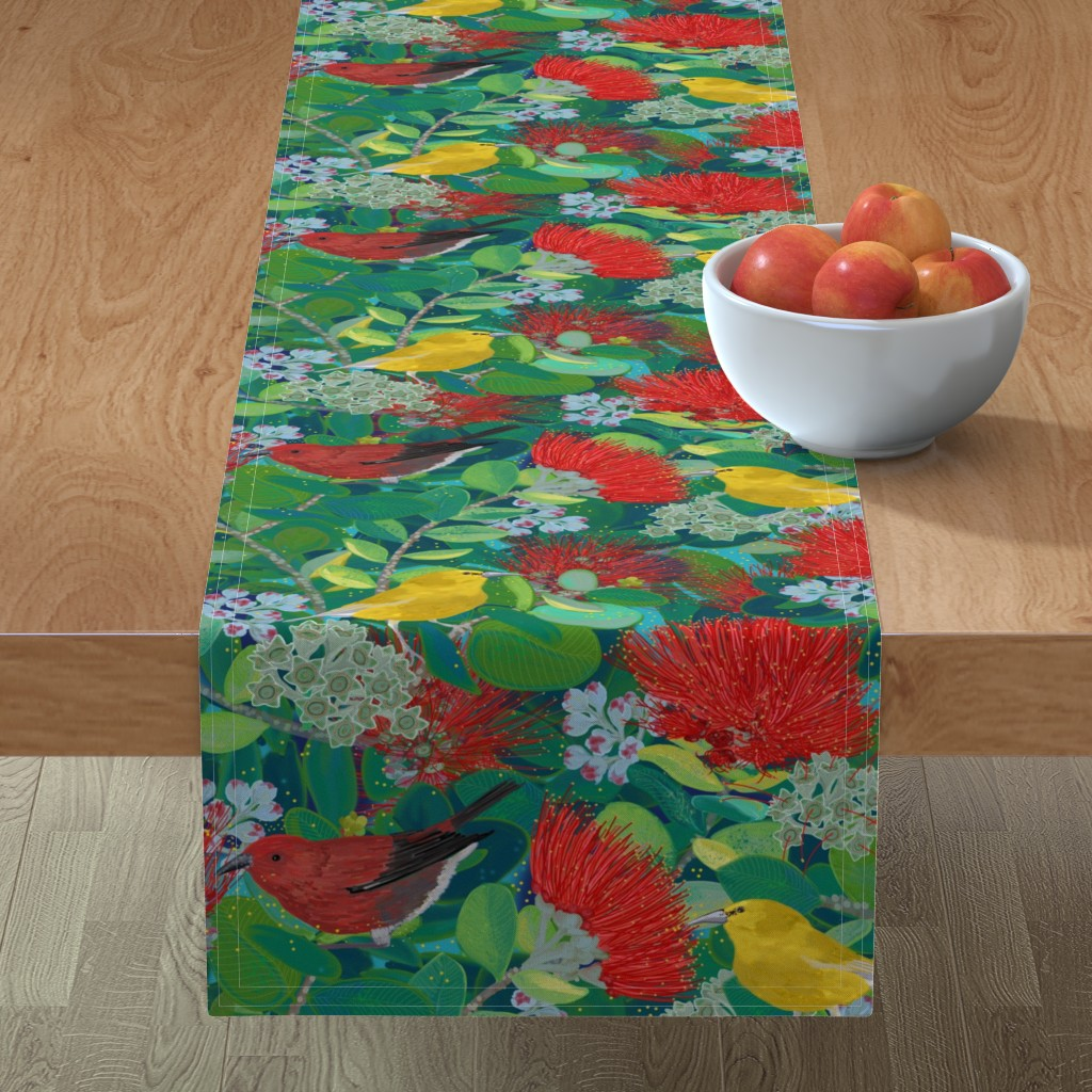 Minorca Table Runner featuring OHIA LIFE by honoluludesign