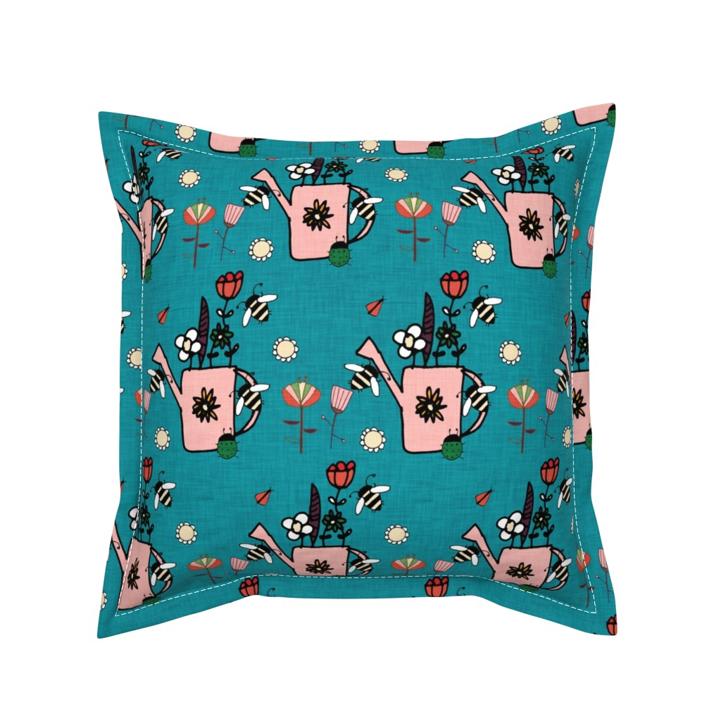 Serama Throw Pillow featuring watering can blue by bruxamagica