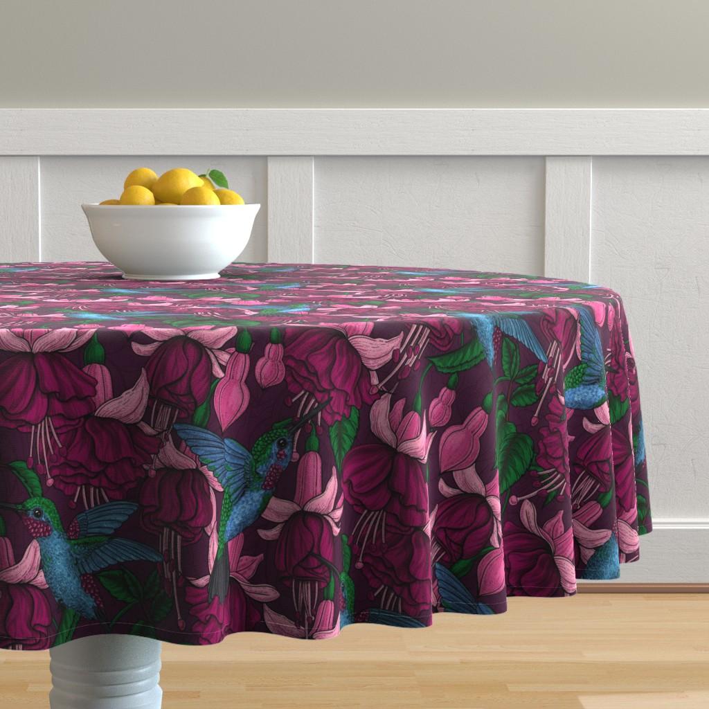 Malay Round Tablecloth featuring Hummingbird garden by katerina_kirilova
