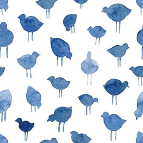 Abstract Birdies in Blue