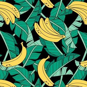 bananas and leaves - black