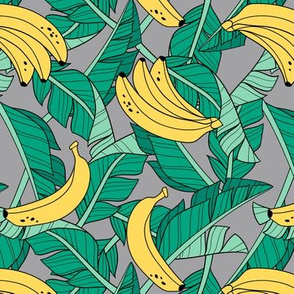 bananas and leaves - grey
