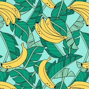 bananas and leaves - turquiose