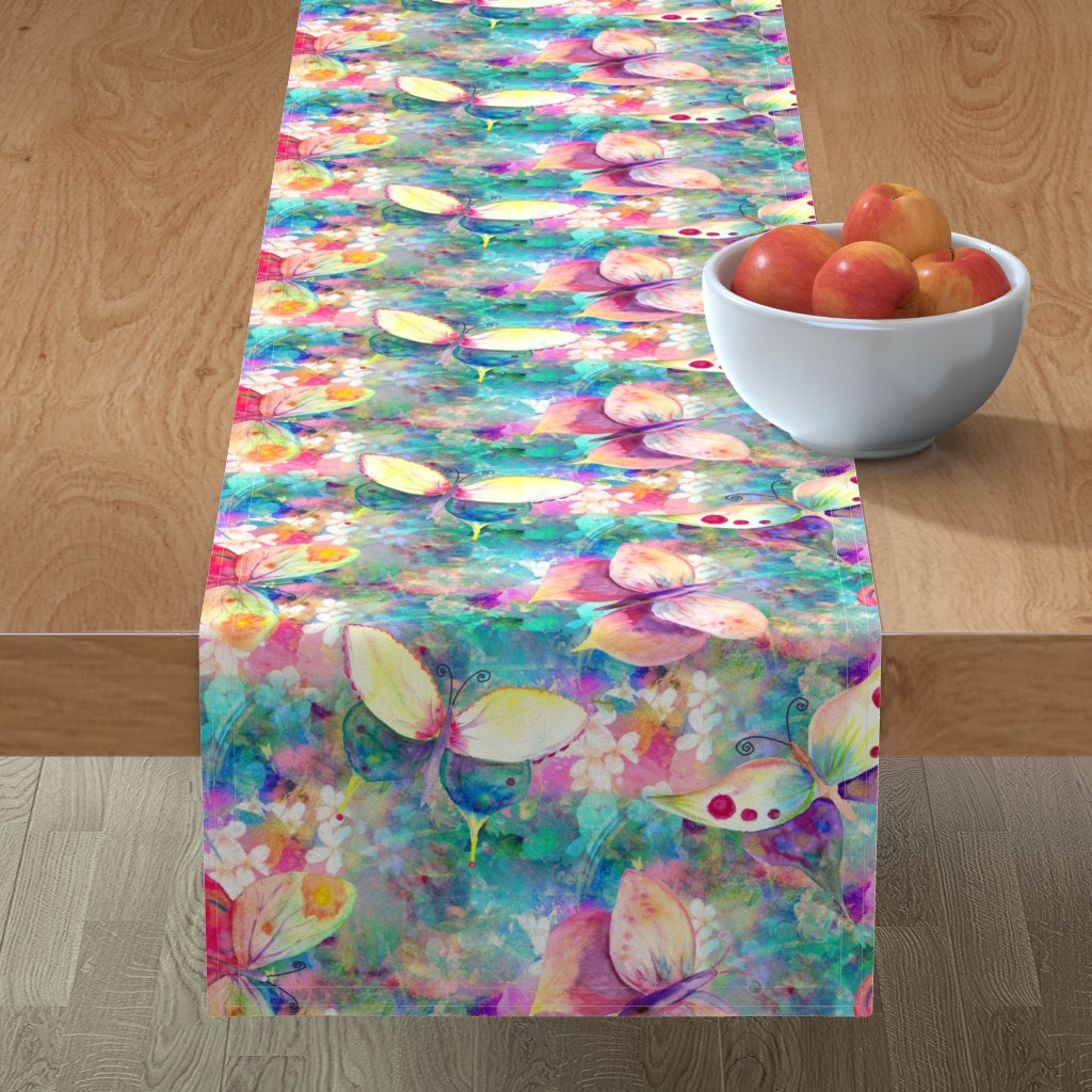 Minorca Table Runner featuring BUTTERFLIES ON FLOWERS FIELDS TURQUOISE AQUA by paysmage