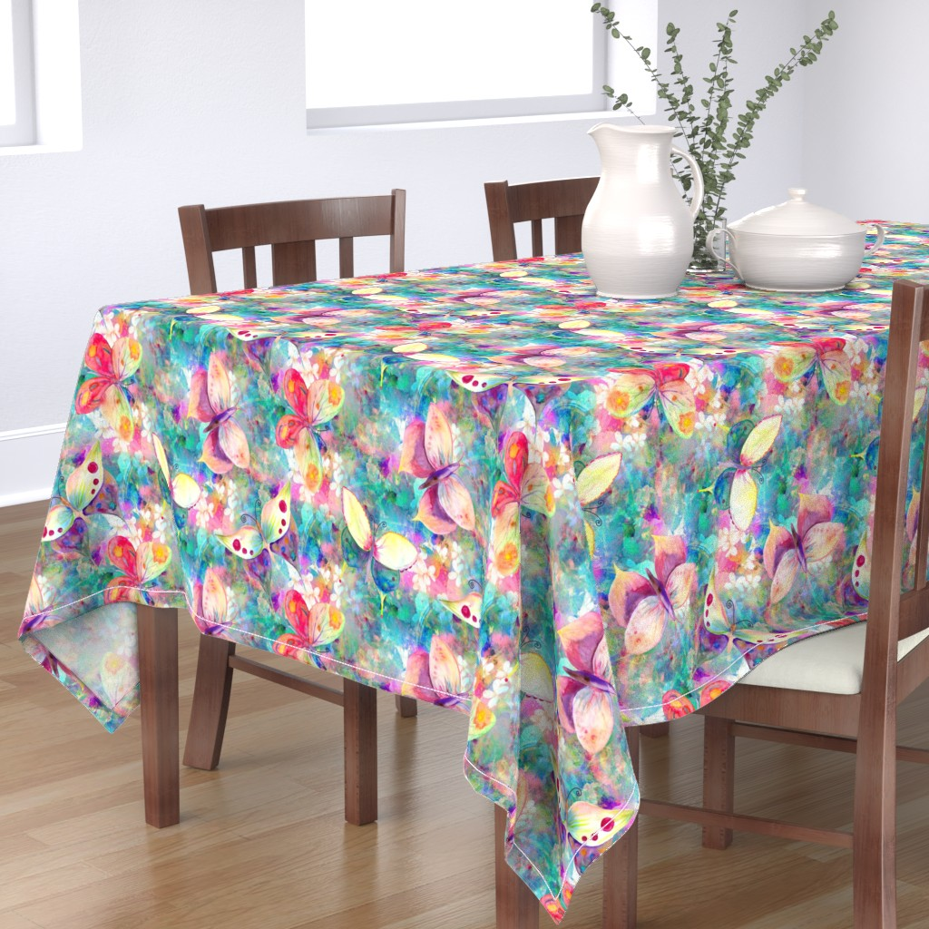Bantam Rectangular Tablecloth featuring LARGE BUTTERFLIES ON FLOWERS FIELDS TURQUOISE AQUA by paysmage