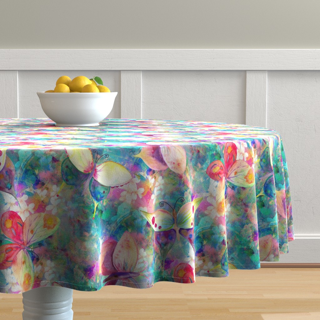 Malay Round Tablecloth featuring BUTTERFLIES ON FLOWERS FIELDS TURQUOISE AQUA by paysmage