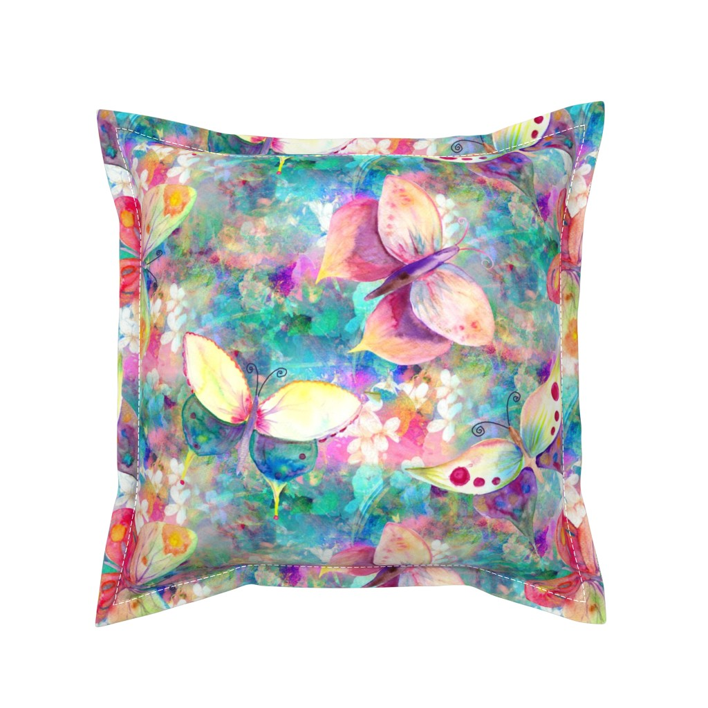 Serama Throw Pillow featuring BUTTERFLIES ON FLOWERS FIELDS TURQUOISE AQUA by paysmage