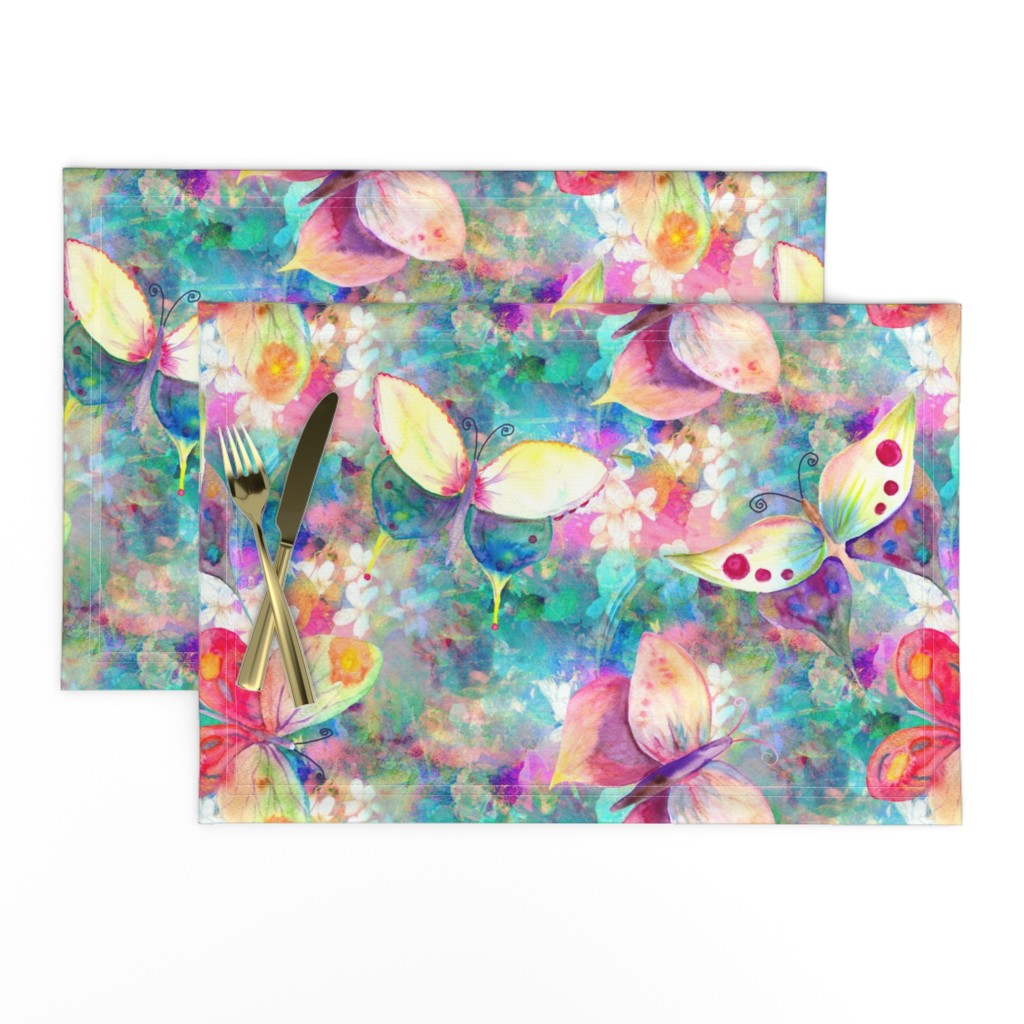 Lamona Cloth Placemats featuring BUTTERFLIES ON FLOWERS FIELDS TURQUOISE AQUA by paysmage