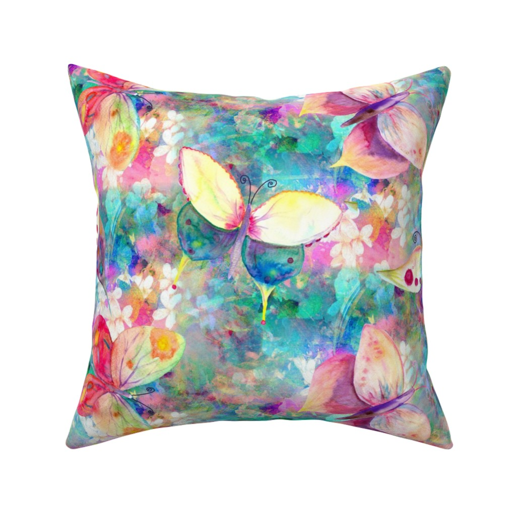 Catalan Throw Pillow featuring LARGE BUTTERFLIES ON FLOWERS FIELDS TURQUOISE AQUA by paysmage