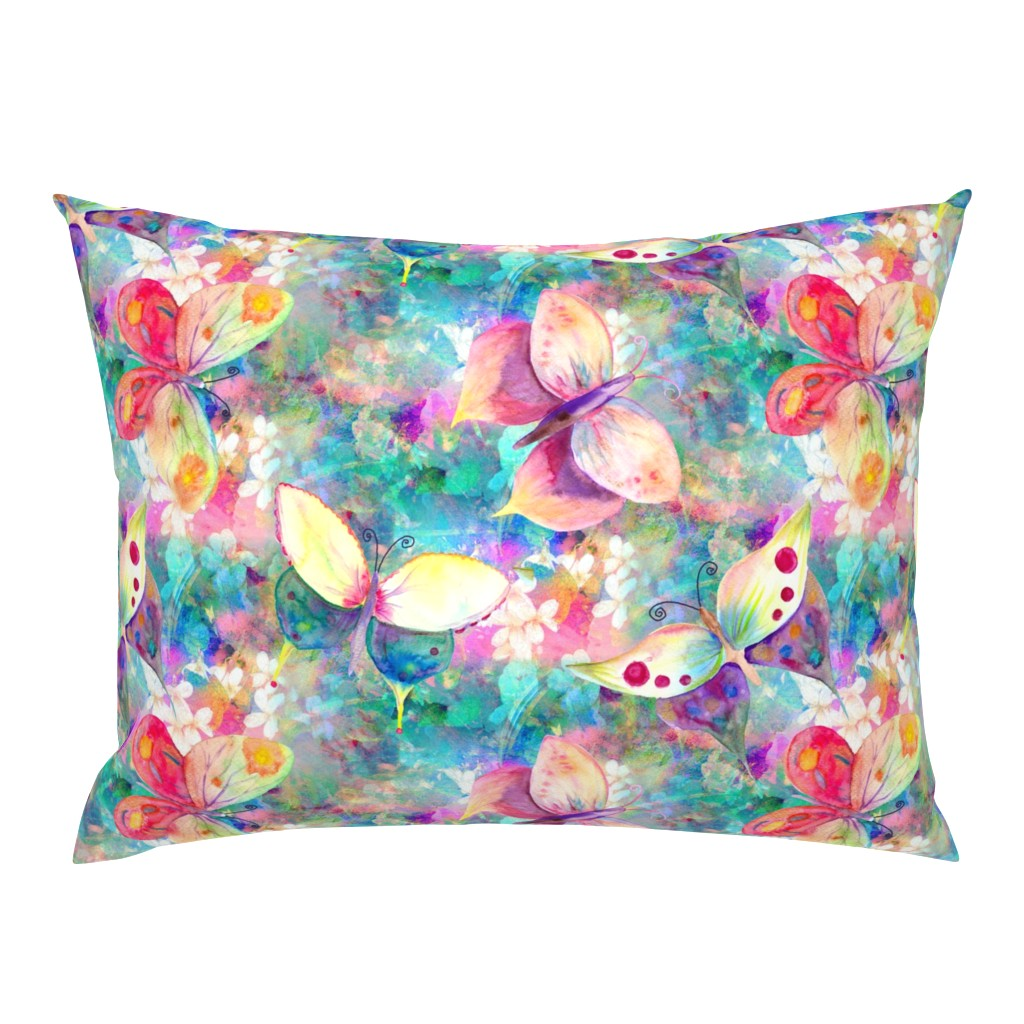 Campine Pillow Sham featuring BUTTERFLIES ON FLOWERS FIELDS TURQUOISE AQUA by paysmage